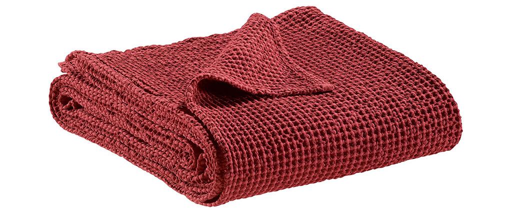 Plaid en coton rouge 140 x 200 cm YAM