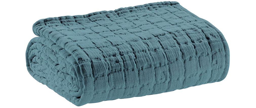 Plaid en coton texturé bleu glacier 130 x 200 cm WAFLE