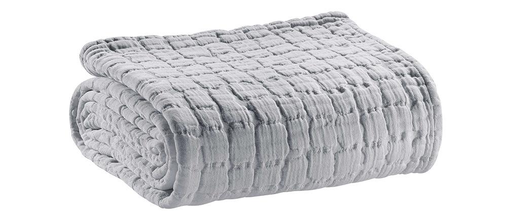 Plaid en coton texturé gris perle 130 x 200 cm WAFLE