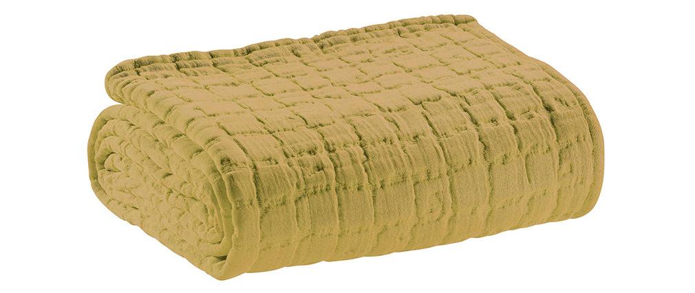 Plaid en coton texturé jaune 130 x 200 cm WAFLE
