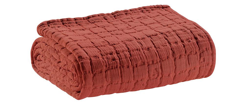 Plaid en coton texturé rouge tomette 130 x 200 cm WAFLE