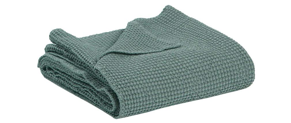 Plaid en coton vert sauge 140 x 200 cm YAM
