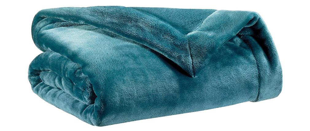 Plaid en polyester bleu canard 150 x 200 cm FERO
