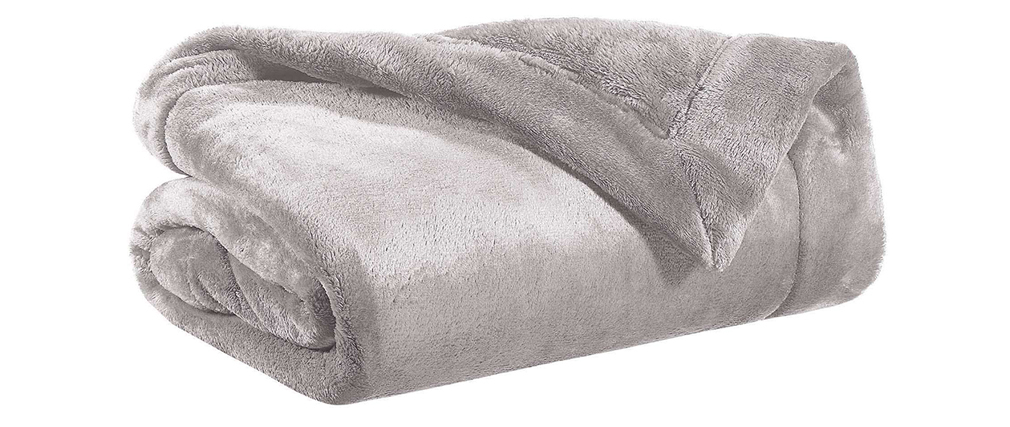 Plaid en polyester gris 150 x 200 cm FERO