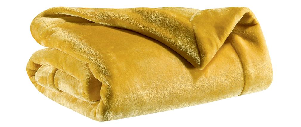 Plaid en polyester jaune curry 150 x 200 cm FERO