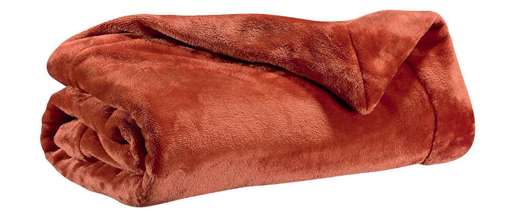 Plaid en polyester rouge tomette 150 x 200 cm FERO