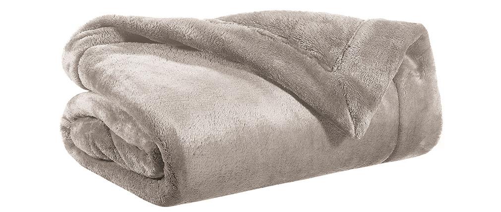 Plaid en polyester taupe 150 x 200 cm FERO