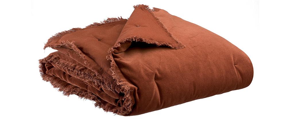 Plaid en velours caramel 135 x 200 cm PESCA