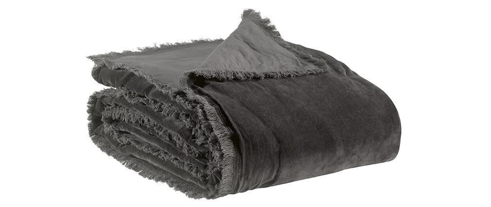 Plaid en velours gris ardoise 135 x 200 cm PESCA