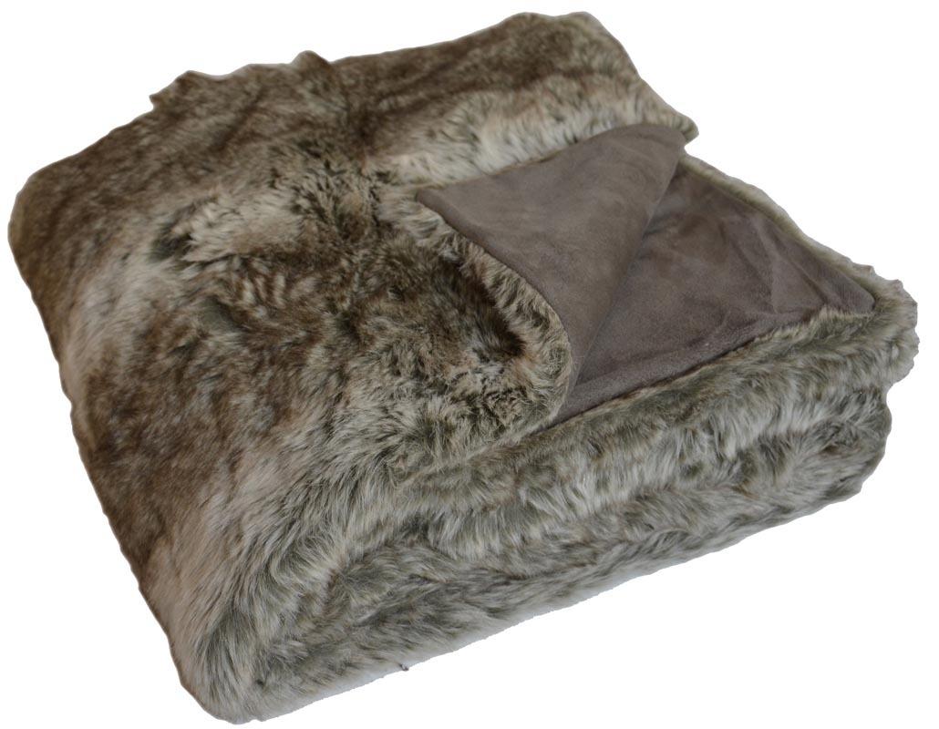 plaid fausse fourrure marron wolf miliboo. Black Bedroom Furniture Sets. Home Design Ideas