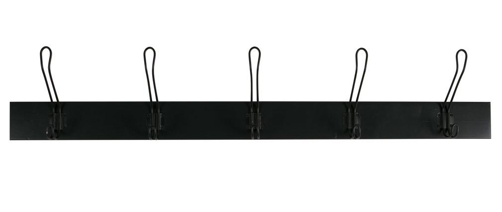 Porte-manteau mural métal noir 5 crochets FIVE