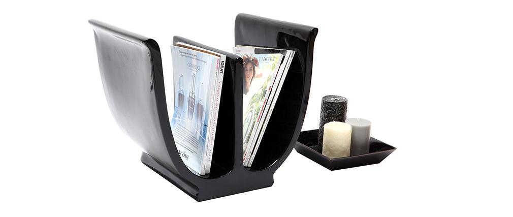 porte revues design noir tulip miliboo. Black Bedroom Furniture Sets. Home Design Ideas
