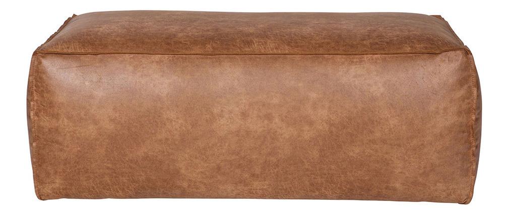 Pouf cuir vintage camel 120 cm ASPEN - cuir de vache reconstitué