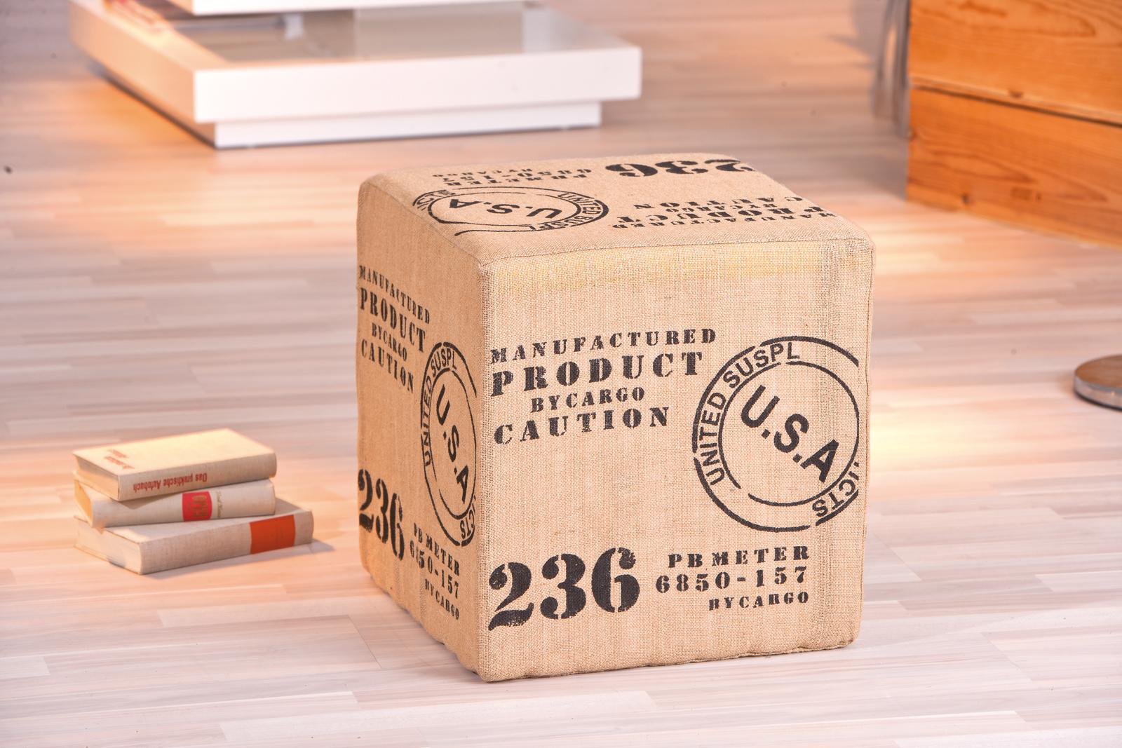 pouf design toile de jute road miliboo. Black Bedroom Furniture Sets. Home Design Ideas