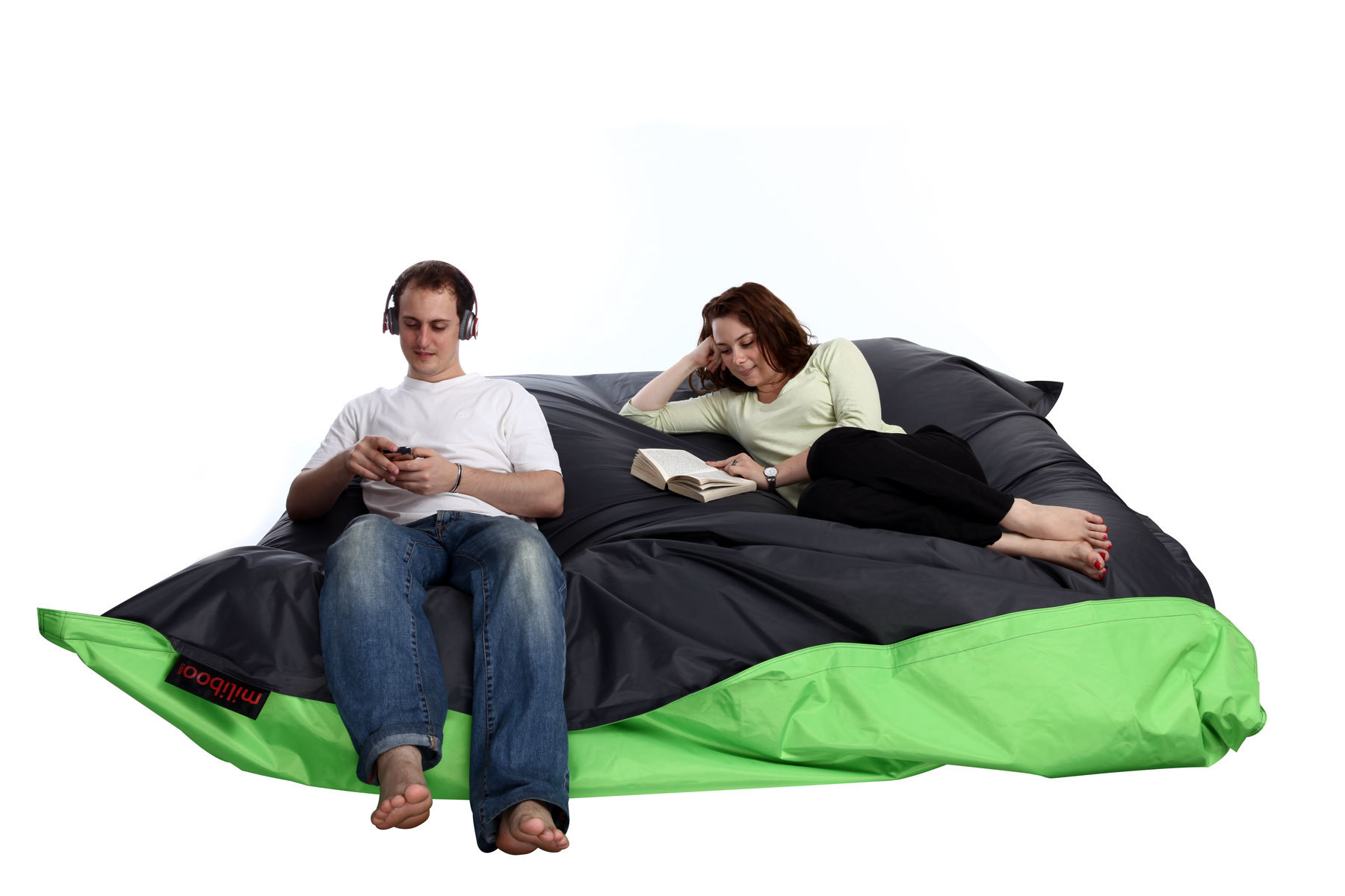 pouf g ant design bicolore vert et gris family milibag miliboo. Black Bedroom Furniture Sets. Home Design Ideas