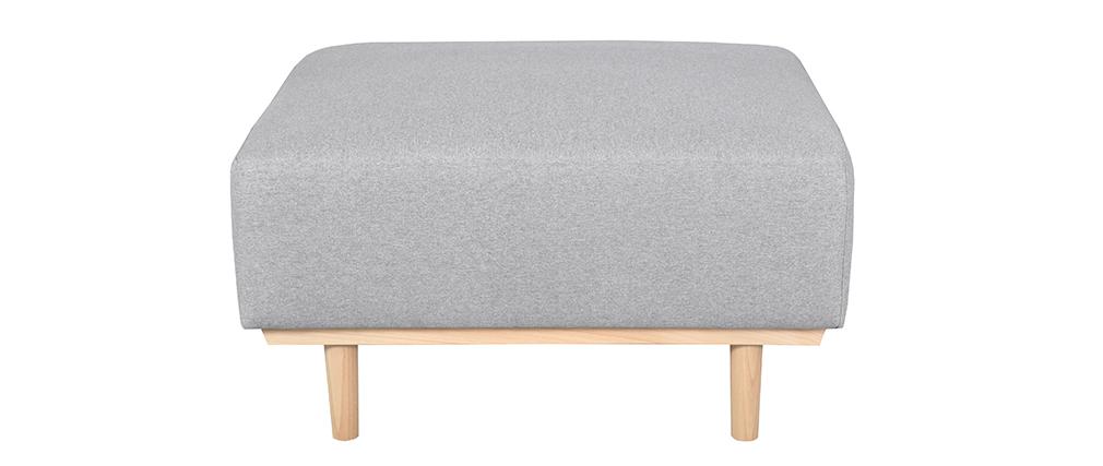 Pouf module de canapé en tissu gris chiné et hêtre massif - MORRIS