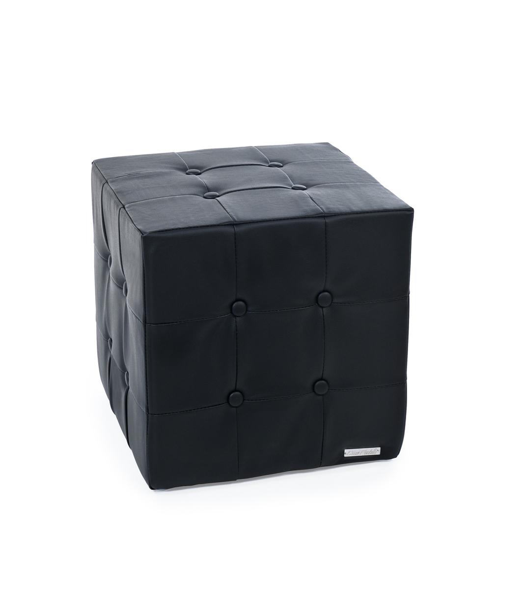 Pouf noir moderne carr angelo miliboo for Pouf carre noir ikea