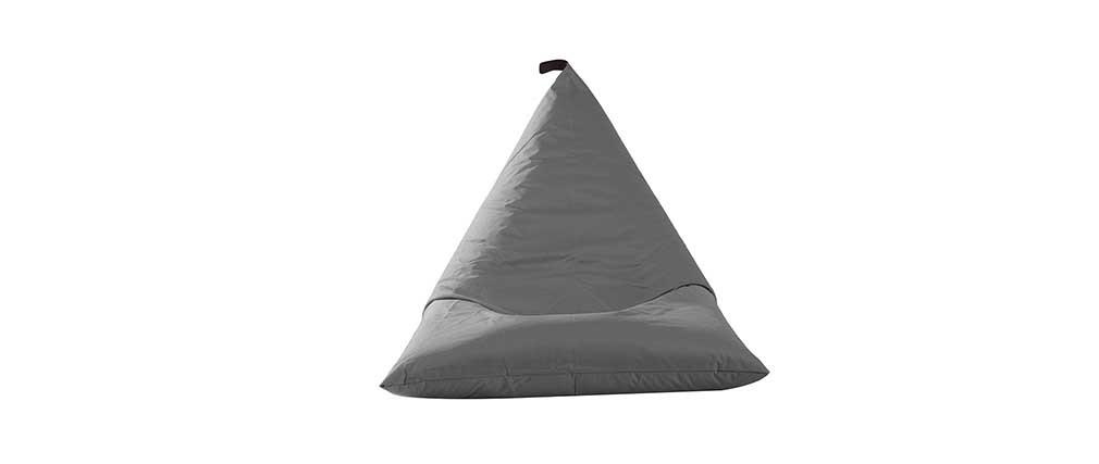 Pouf poire int rieur ext rieur polyester gris anthracite for Poire exterieur