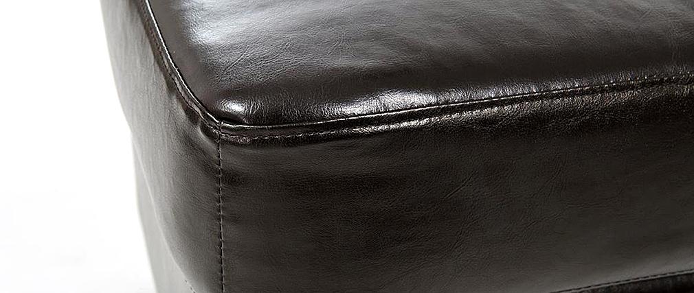 Pouf / repose pied Club cuir marron foncé - cuir de buffle