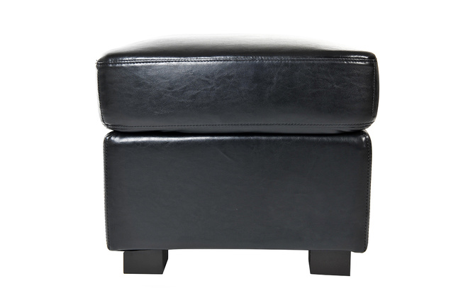 pouf repose pied club cuir noir miliboo. Black Bedroom Furniture Sets. Home Design Ideas