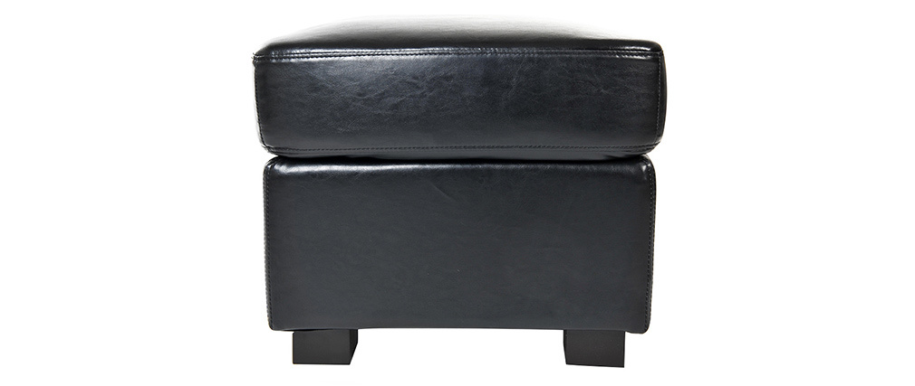 Pouf / repose pied Club cuir noir - cuir de buffle