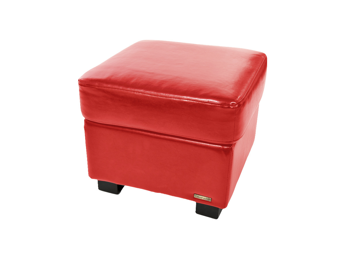 pouf repose pied club cuir rouge miliboo. Black Bedroom Furniture Sets. Home Design Ideas
