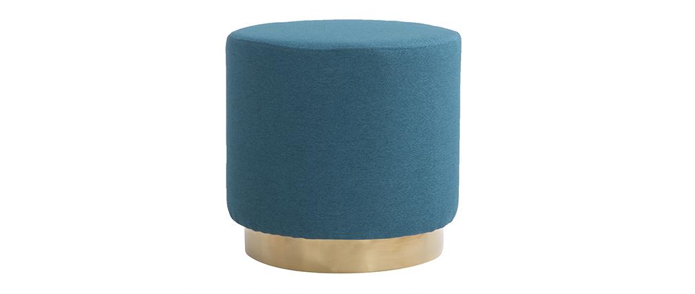 Pouf rond en tissu bleu canard et métal doré BETTY