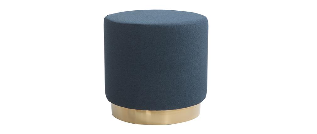 Pouf rond en tissu bleu et métal doré BETTY