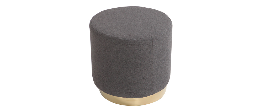 Pouf rond en tissu gris et métal doré BETTY