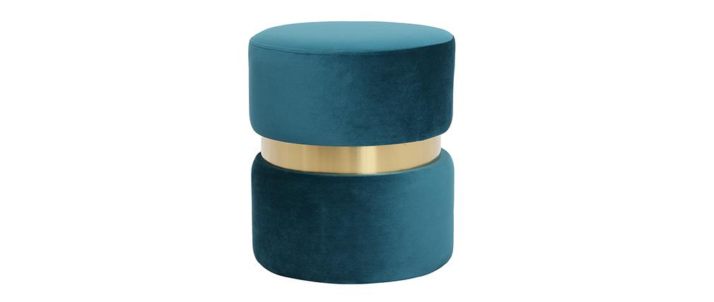 Pouf rond en velours bleu canard et métal doré JOY