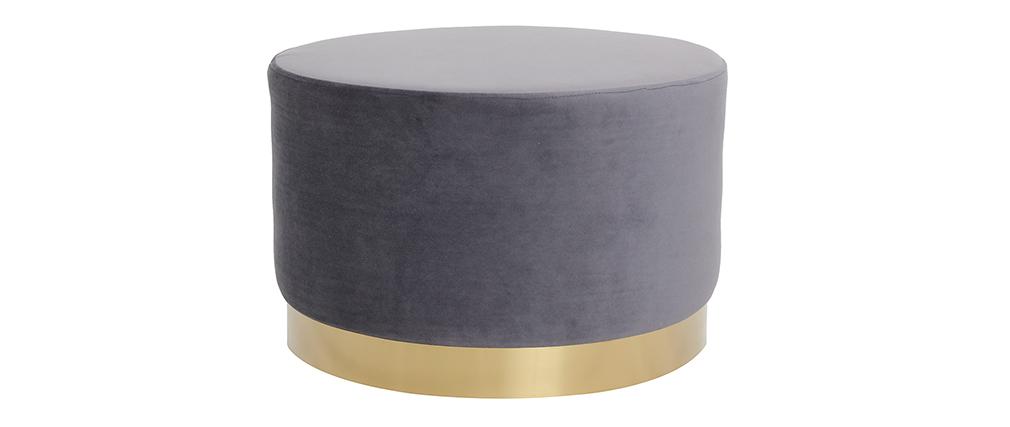 Pouf rond en velours gris et métal doré 54 cm AMAYA