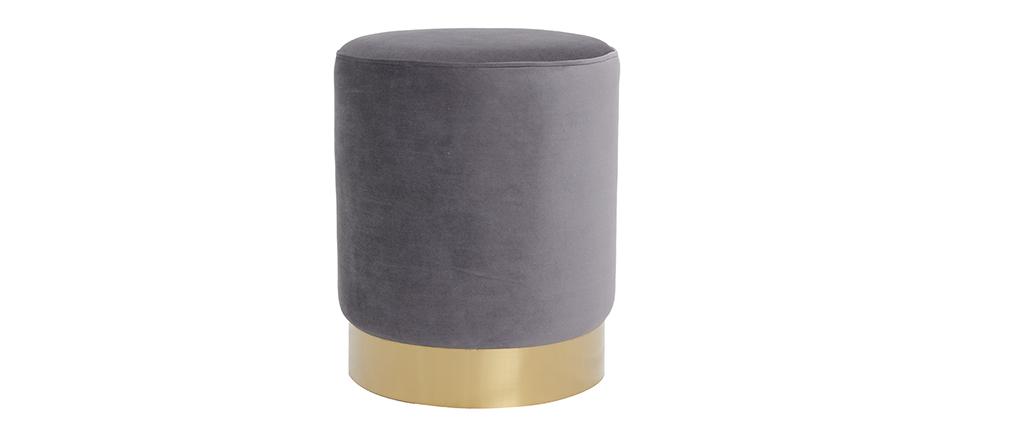 Pouf rond en velours gris et métal doré AMAYA