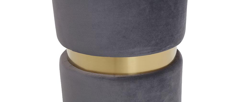 Pouf rond en velours gris et métal doré JOY