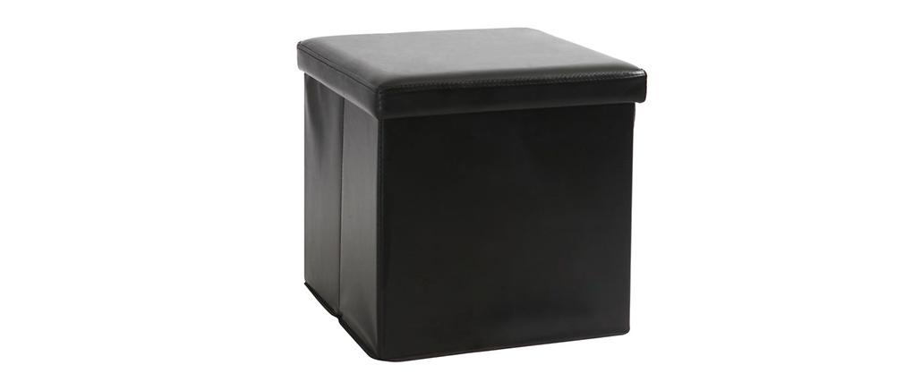 Poufs de rangement design noir (lot de 2) MILO