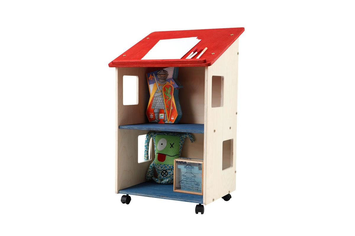 Pupitre bureau enfant pin teinté rouge et bleu HAPPY
