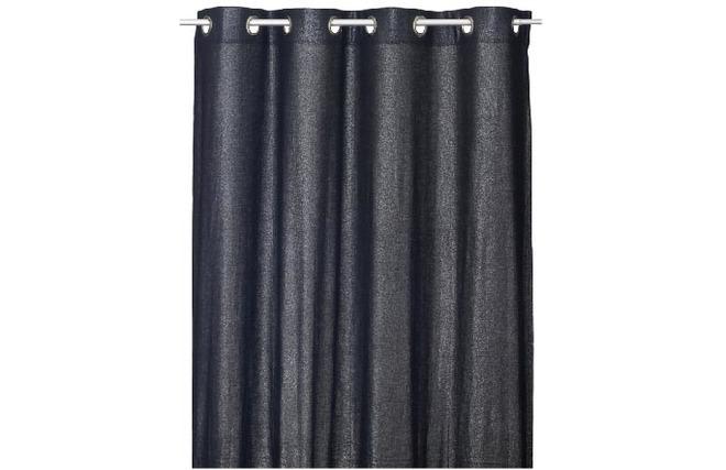 rideau 140 x 260 lin et coton noir strass zoom. Black Bedroom Furniture Sets. Home Design Ideas