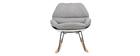 Rocking chair design coque blanche et tissu gris KOKON