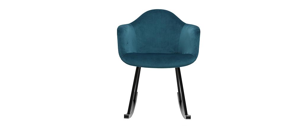 Rocking chair design effet velours bleu pétrole MAMBO