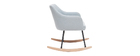 Rocking chair design en tissu gris bleu BALTIK