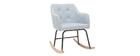 Rocking chair design en tissu gris clair BALTIK
