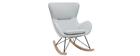 Rocking chair design en tissu gris clair ESKUA