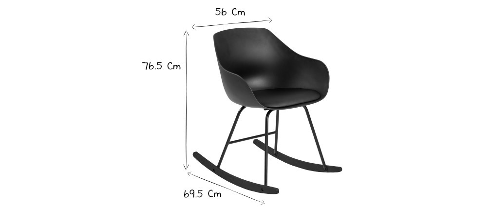 Rocking chair design noir KAALA