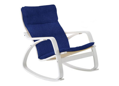 Rocking chair design pieds blanc assise bleu jean CLIFF