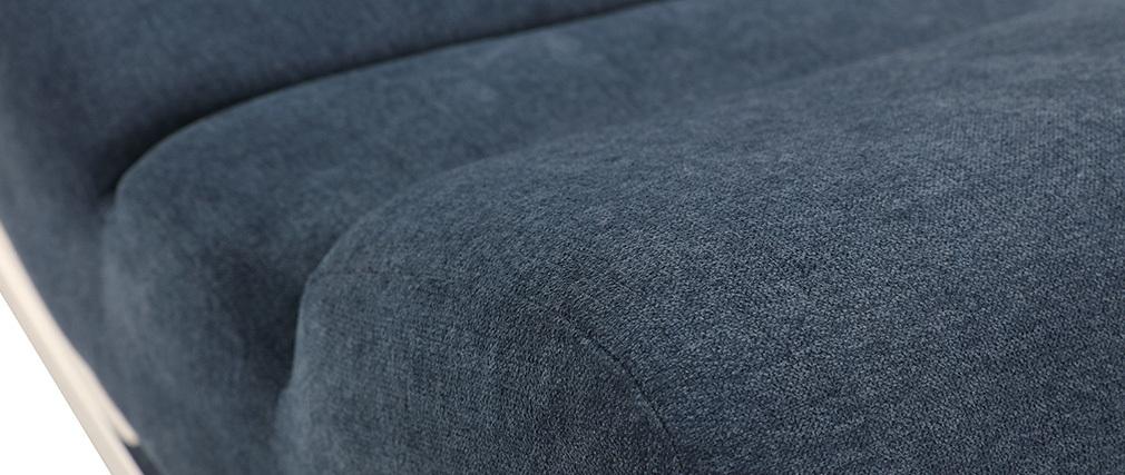 Rocking chair design tissu effet velours bleu TAYLOR