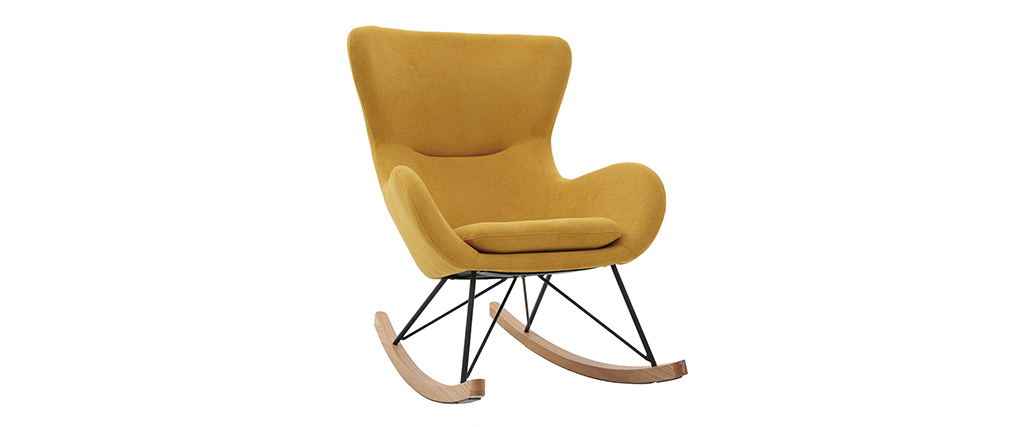 Rocking chair design tissu effet velours jaune moutarde ESKUA