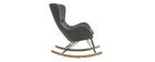 Rocking chair design tissu gris effet laine bouclée ESKUA