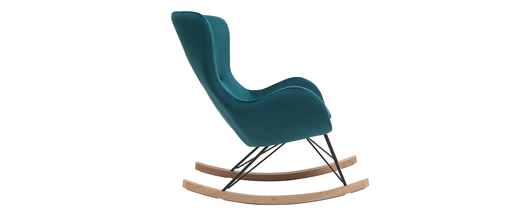 Rocking chair design velours bleu pétrole ESKUA