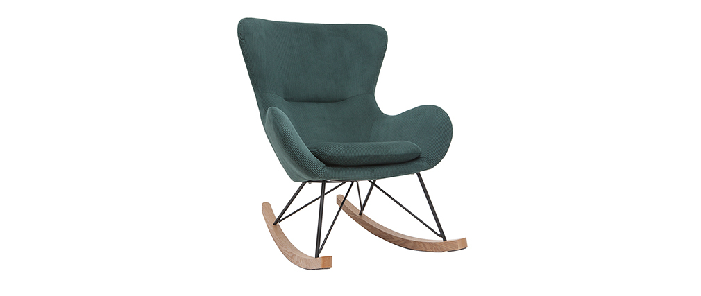 Rocking chair design velours côtelé vert ESKUA
