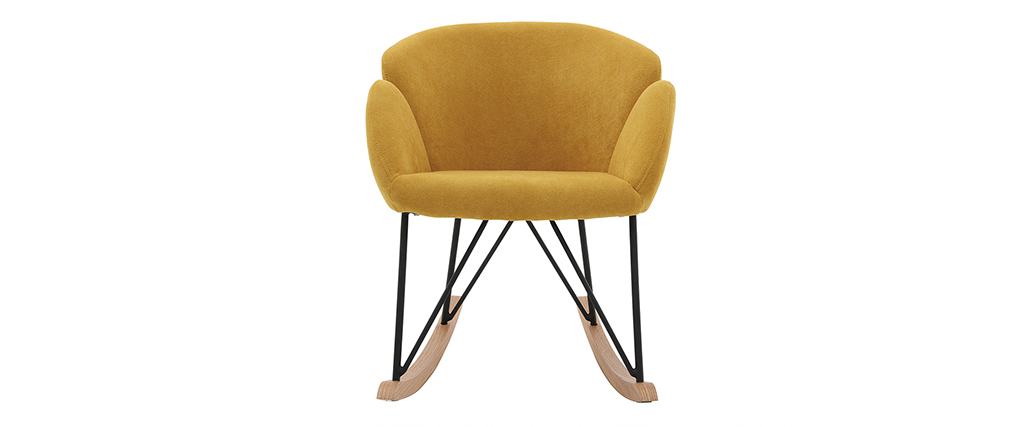 Rocking chair design velours jaune moutarde RHAPSODY - Miliboo & Stéphane Plaza