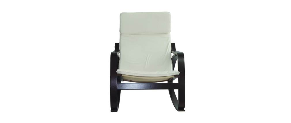 Rocking chair design wengé blanc WILLY